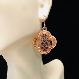 Designer style rose gold earrings